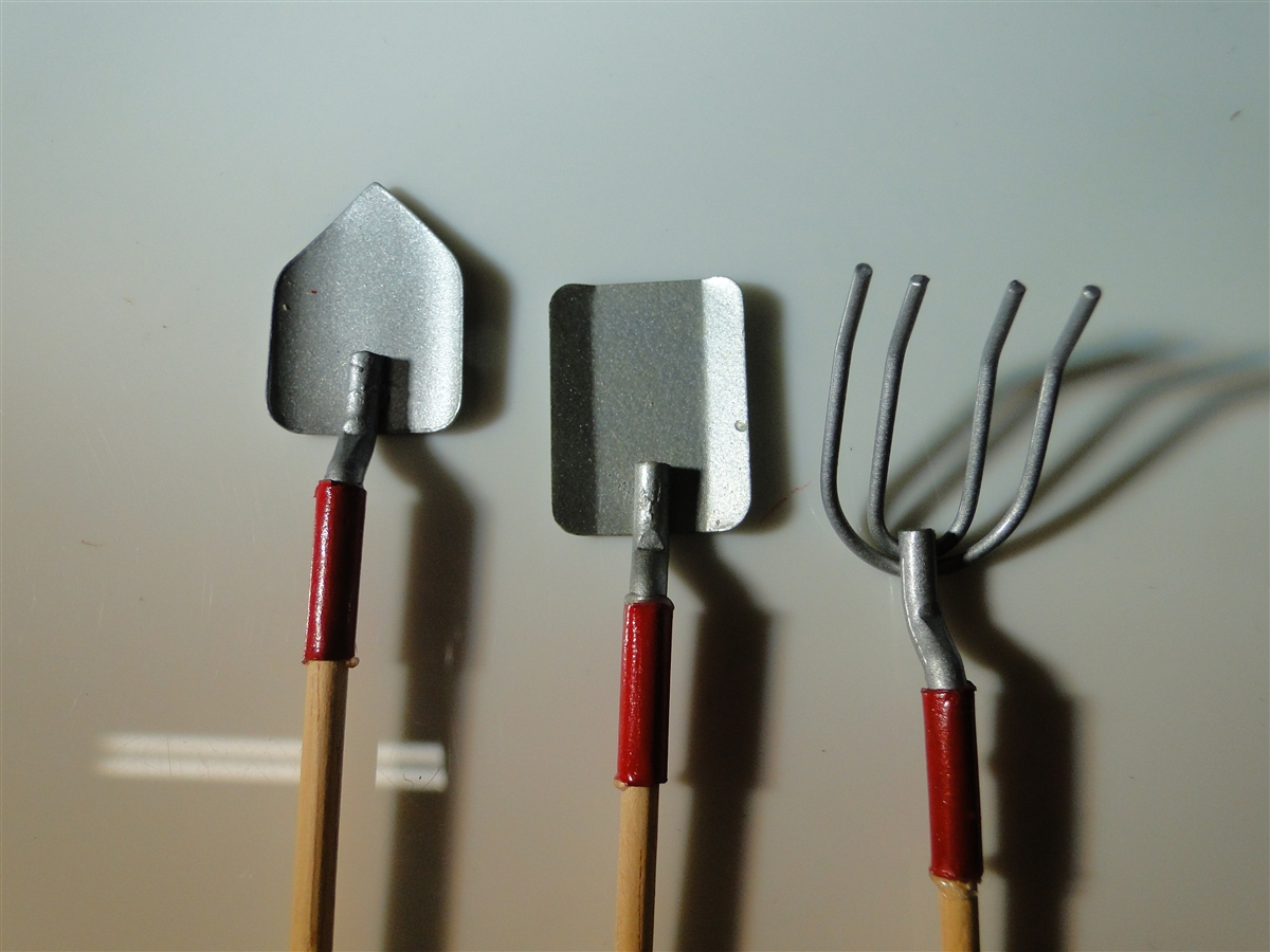 2 off miniatures three piece wood metal garden tool set for Pitchfork tool for sale
