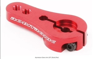 Robitronic Aluminum Servo Arm 25 tooth spline (Futaba) (Short) (Comes in either Red or Grey) #R17022